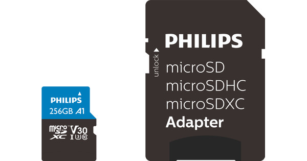 Philips Micro SDXC 256GB 100MB/s + SD Adapter