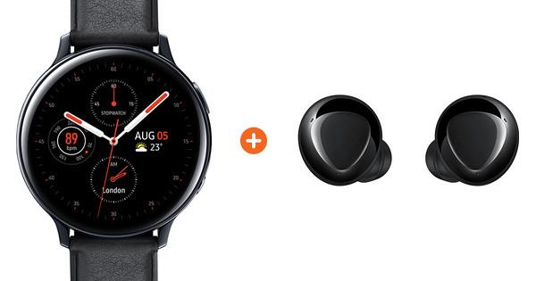 Samsung Galaxy Watch Active2 Black 44mm Stainless Steel + Galaxy Buds Plus Black