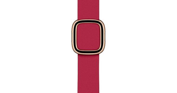 Apple Watch 38/40/41 mm Modern Leren Horlogeband Framboos - Medium