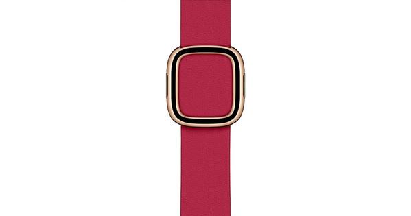 Apple Watch 38/40 mm Modern Leren Horlogeband Framboos - Large