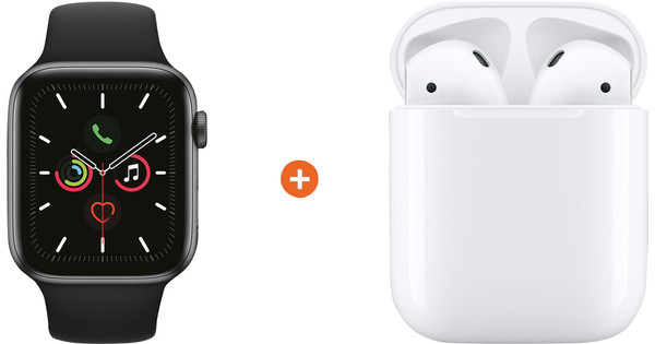Apple Watch Series 5 40mm Space Gray Zwarte Sportband + Apple AirPods 2