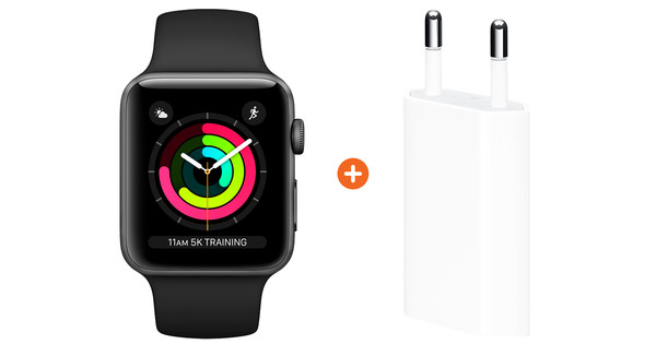 Apple Watch Series 3 42mm Space Gray Aluminum/Black + Apple USB Power Adapter