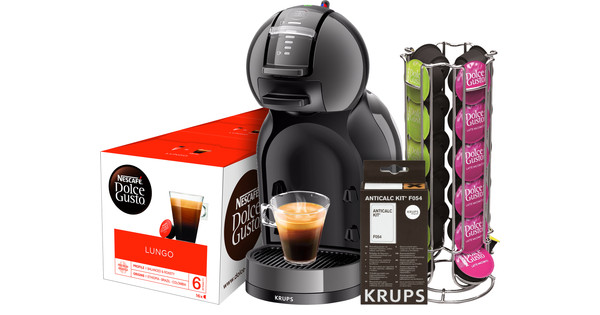 Krups Dolce Gusto Mini Me KP1208 Black + Descaling Kit + Capsules + Holder