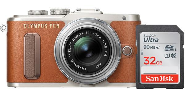 Olympus Pen E-PL8 Brown + 14-42mm IIR Silver + Sandisk 32GB Memory Card