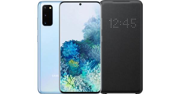Samsung Galaxy S20 128GB Blauw 5G + Samsung Galaxy S20 Led View Book Case Zwart