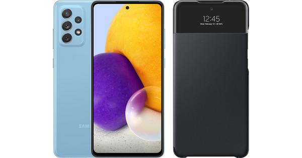 Samsung Galaxy A72 128 GB Blauw + Samsung Smart S View Wallet Zwart