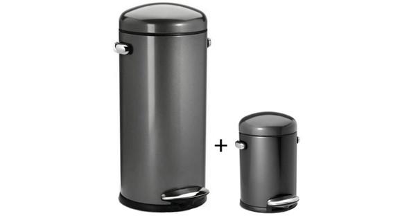 Simplehuman Retro Pedaalemmer 30 L Rvs.Simplehuman Retro Set 30 Liter 3 Liter Antraciet