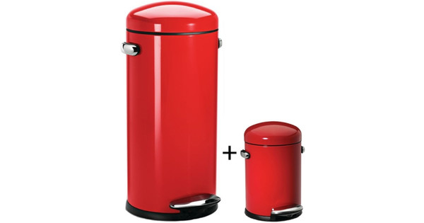 Simplehuman Retro Pedaalemmer 30 L Rvs.Simplehuman Retro Set 30 Liter 3 Liter Rood