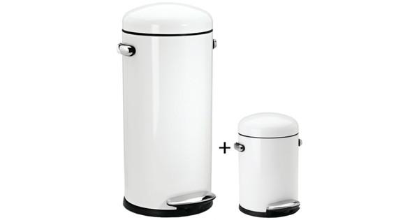 Simplehuman Retro Pedaalemmer Rvs 30 Liter.Simplehuman Retro Set 30 Liter 3 Liter Wit