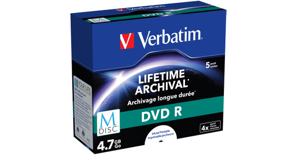 photo relating to Printable Dvd Discs known as VERBATIM M-DISC DVD + R 4x 4.7GB IJ PRINTABLE 5 PACK JEWEL Situation