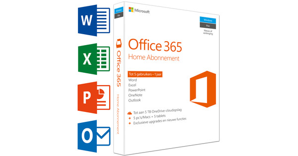 Microsoft Office 365 Home 1 jaar abonnement UK