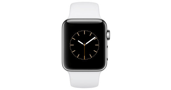 Apple watch series mm roestvrij staal witte sportband