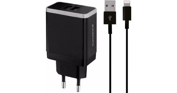 Mobiparts Charger Adapter Dual USB 4.8A Lightning Black