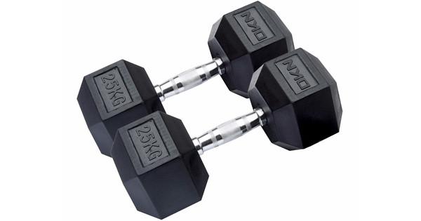DKN Rubber Hex Dumbbells 2x 25 kg