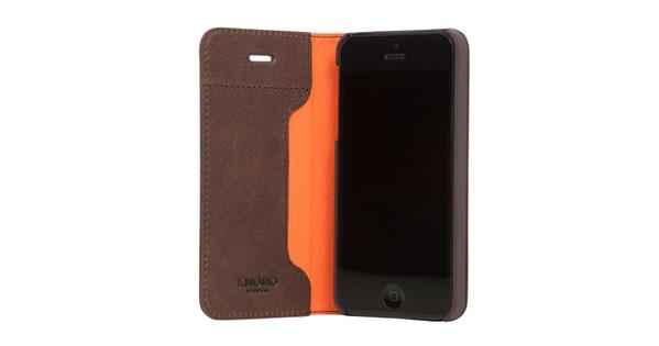 wholesale dealer 1e25c 7f329 Knomo Folio Apple iPhone 5/5S/SE Book Case Bruin