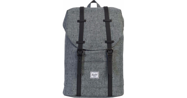 Herschel Retreat Mid-Volume Scattered Raven Crosshatch/Black Rubber