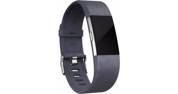 Fitbit Charge 2 Leren Horlogeband Grijs Large