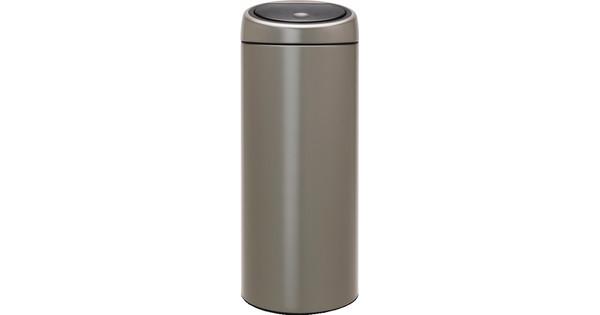 Brabantia Touch Bin Afvalemmer 30 L Mat Rvs.Brabantia Touch Bin 30 Liter Platinum Met Platinum Deksel