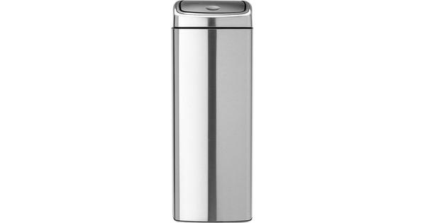 Brabantia Touch Bin Vierkant 25 Liter Rvs Mat.Brabantia Touch Bin Vierkant 25 Liter Matt Steel Fingerprint Proof