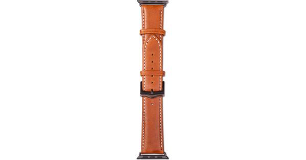 Copenhagen Apple Watch 42mm Leren Horlogeband Lichtbruin/Zwa