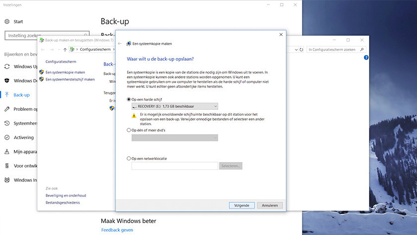 Choose where you want to create the backup disk.