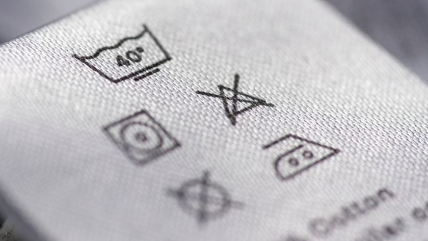 Washing label with symbols