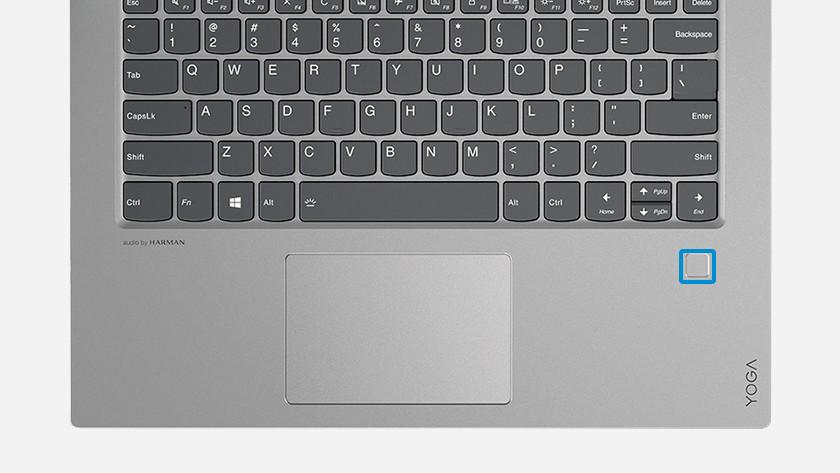 Vingerafdrukscanner naast toetsenbord omcirkeld op Yoga laptop.