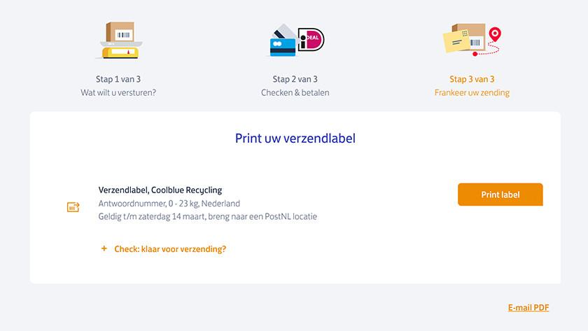 Scherm verzendlabel printen PostNL