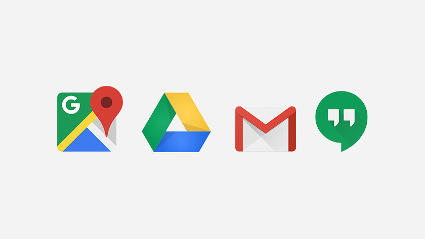 Icoontjes van Maps, Drive, Gmail en Hangouts.