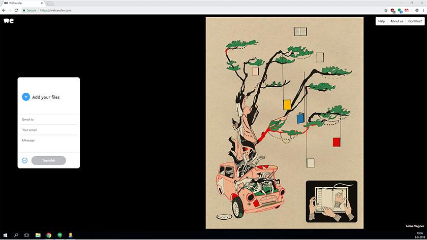 WeTransfer website op computer.