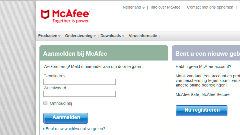 Log in to McAfee.