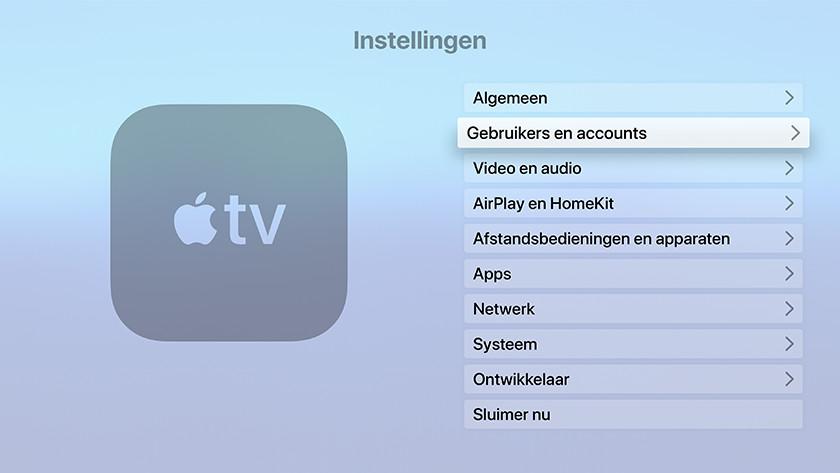 Open de Instellingen app op Apple TV en ga naar 'Gebruikers en accounts'