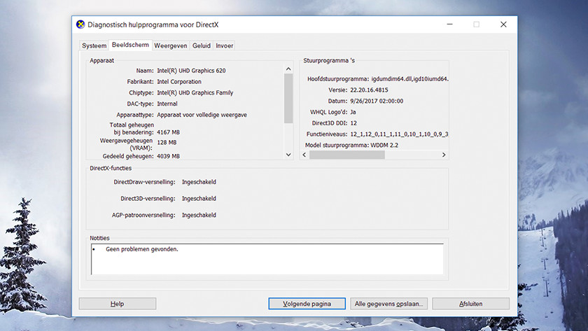 Diagnostisch hulpprogramma voor DirectX op Windows 10.