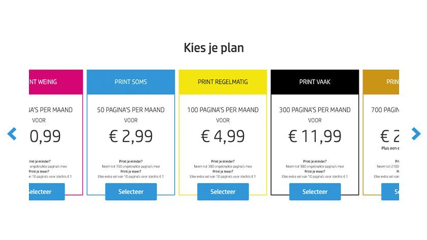 Choose HP Instant Ink plan