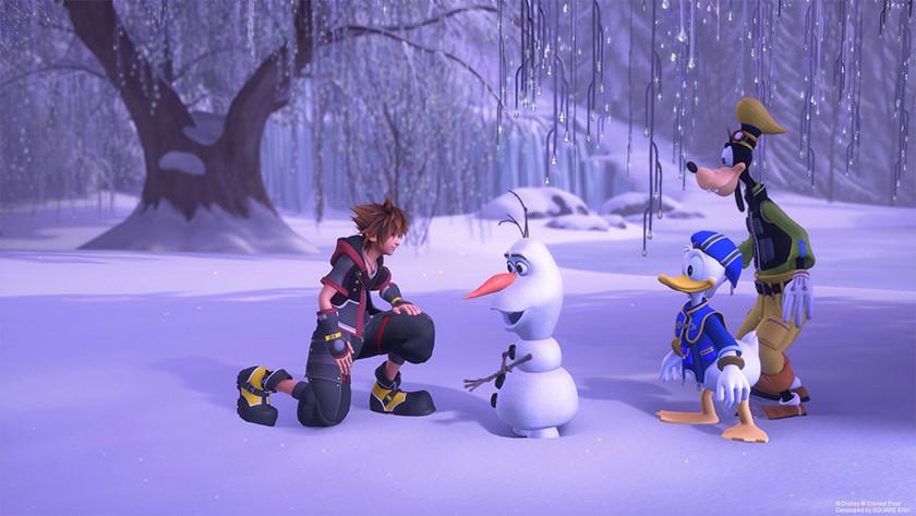 Sora, Goofy, Donald in de wereld van Frozen