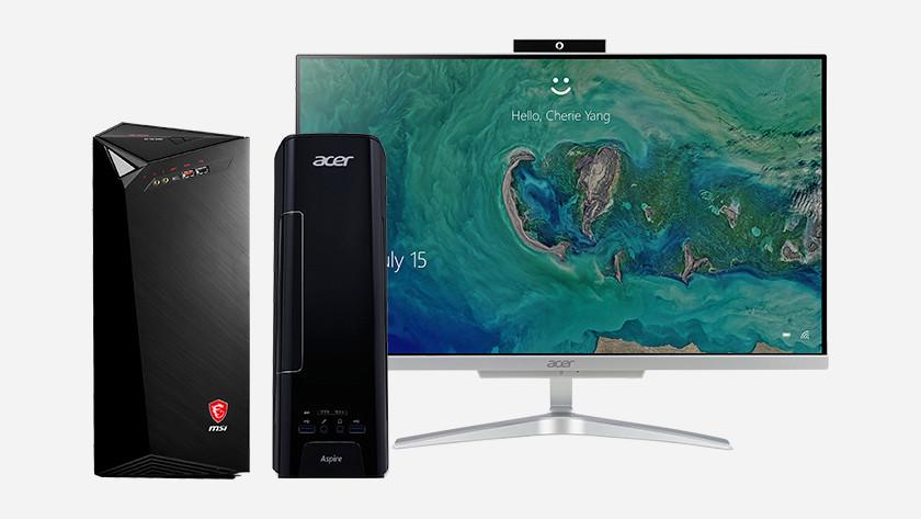 Een MSI desktop, Acer desktop en Acer monitor.