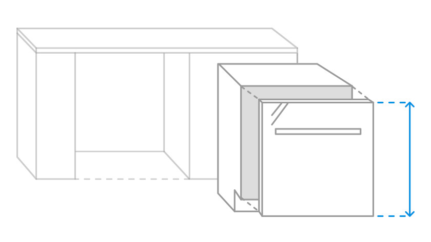 Visually measurable front panel of a fully integrated dishwasher