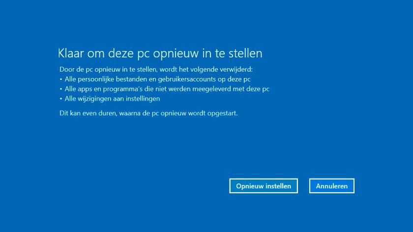 Opnieuw instellen Windows 10 pc.