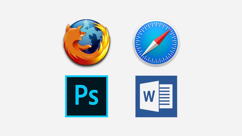 Firefox, Safari, Photoshop en Word icoon