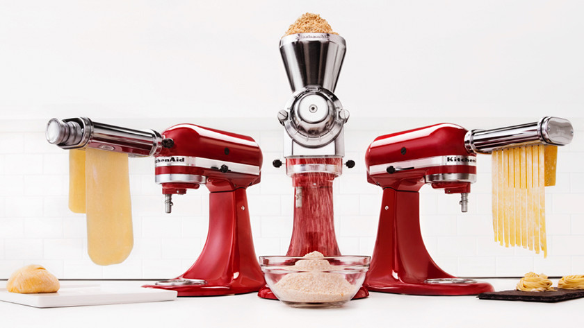 KitchenAid with pasta rollers and a flour mill