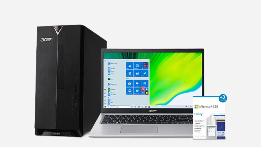 Desktop en laptop met Microsoft 365 extra.
