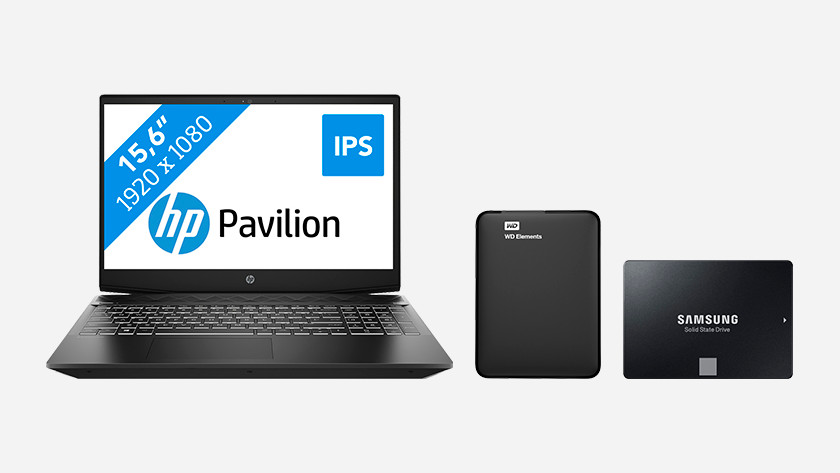 An HP Pavilion laptop with hard drive and SSD.