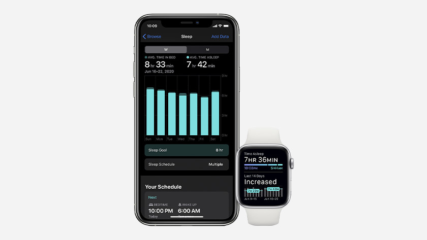 You can view your sleep statistics in the morning on your Apple Watch and your iPhone.