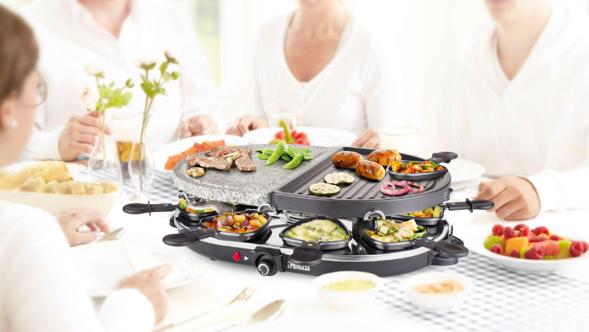 Raclette grill with stone grill and griddle