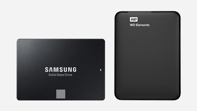 Een Samsung SSD en WD harde schijf.