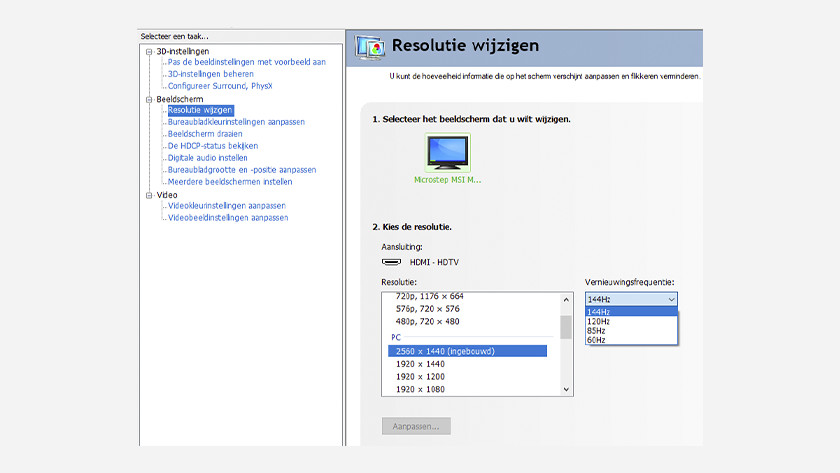 Resolutie en verversingssnelheid beeldscherm aanpassen