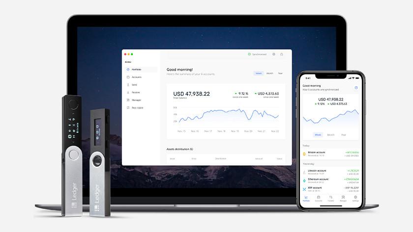 Ledger Live software met hardware wallet