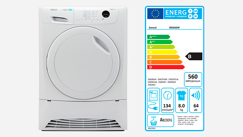 Condenser dryer with energy label