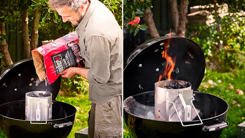 Lighting the barbecue with a briquette starter