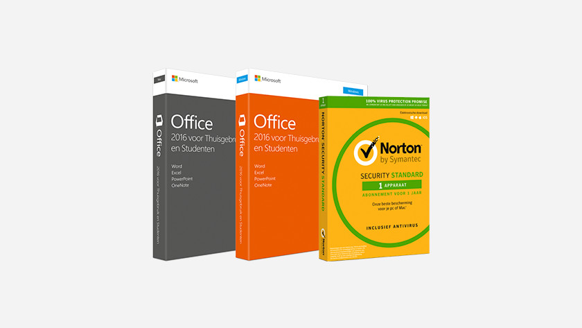 Norton en Office software pakketten in doos.